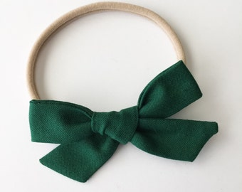 Dark Green Tied Bow - Dark Green School Girl Bow - Hunter Green Forest Green Bow Headband or Clip - Green Baby Bow Headband - Green Clip Bow