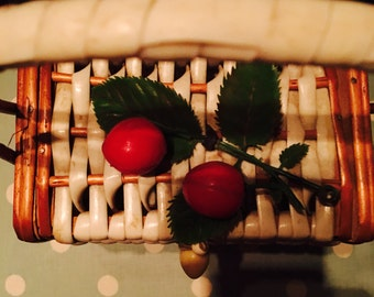 1950s Basket Weave Cherry Box Bag Fabulos