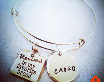 Rescued dog / dogs name / wire bangle charm bracelet
