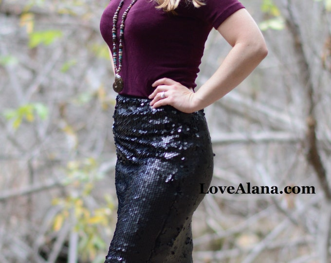 Small Matte Black Pencil Sequin Skirt - Stretchy, beautiful knee length skirt (S,M,L,XL) Made in LA!