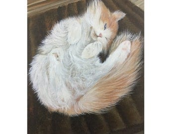 Long haired cat gift custom portrait painting from photo on canvas hand painted art gift