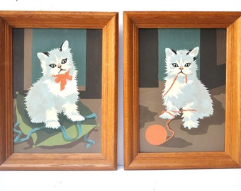 Pair of Vintage Framed Kitten Paint by Numbers