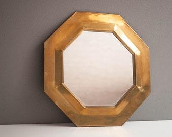 Vintage Octagonal Brass Wall Mirror