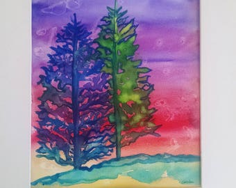 Pine tree watercolor painting, Original watercolor painting, pine trees at sunset