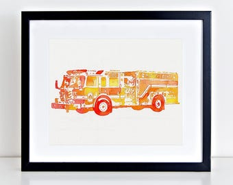 Fire Engine Wall Art - Personalized Transportation Art - Firefighter Gifts for Him - Firetruck Nursery Decor Name Sign - Firefighter Wife