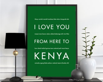 Kenya Africa Art, Travel Decor, Wall Hanging, Africa Canvas, Safari Nursery, I Love You From Here To KENYA, Shown in Grass Green