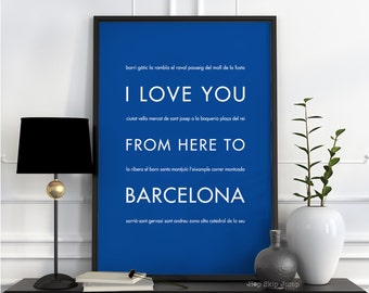Barcelona Print Spain Poster, I Love You From Here To BARCELONA, Shown in Royal Blue - Choose Color, Anniversary Gift, Canvas Poster