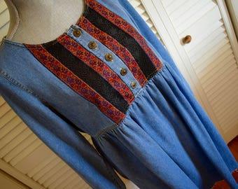 Vintage Denim Mini Dress XS S M 12 Carole Little Boho Hippie Gypsy Club Kid Grunge Folk Bohemian Hipster 70s 80s 90s Festival Blue Jean Mod