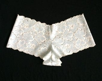Comfy Stretch Lace Undies In White With Blue Flowers
