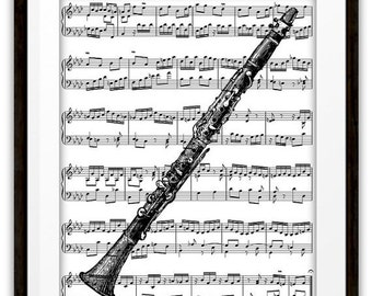 Antique Clarinet Illustration Music Book Page Art Print, Clarinet Player, Gifts Ideas, Jazz, Pop Rock, Marching Band, Orchestra, Dorm Room