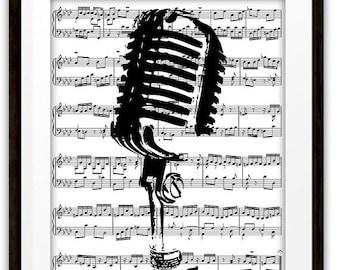 Microphone Music Book Page Wall Art Print, Gift Ideas, DJ, Singer, Performer, Jazz, Pop, Rock, Mixed Media Art, Home & Living, Home Decor