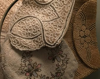 Lot of 3 antique vintage beaded handbags coin purse instant collection! Pretty display 60-75 yrs old