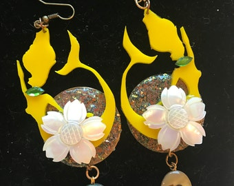Lazer cut Mermaid & Vintage Mother of pearl Flower earrings. Bright yellow Lucite Dangles. Genuine Abalone shell bead dangles.