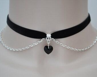 BLACK Crystal Glass HEART With Chain BLACK 10mm Velvet Ribbon Choker Necklace - ao... or choose another colour choker/velvet, handmade :)