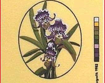 Floral Needlepoint Canvas: Paphiopedilum Orchid