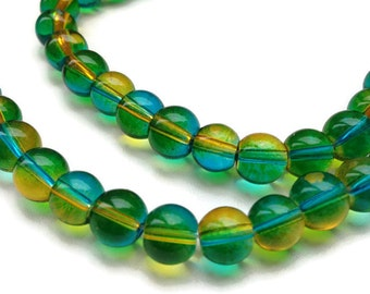 50 Blue Green Yellow Glass Beads, Jewellery Making, 8mm Round Glass Beads G 50 036