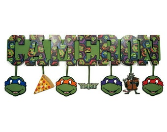 TMNT Name Sign, Wooden Letters, Nursery decor, Ninja turtles, Price per letter