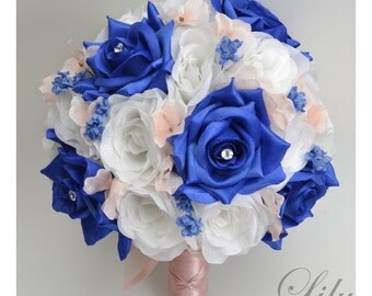 "17 Piece Package Bridal Wedding Bouquets Silk Flowers Bride Party Bouquet Decoration Centerpieces ROYAL BLUE BLUSH ""Lily of Angeles"" BSBL01"
