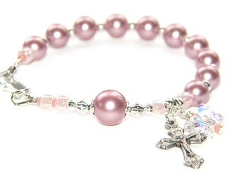 Rosary Bracelet for Girl or Teen, Deep Rose Pink Crystal Pearls with Butterfly Charm / First Communion, Confirmation Gift