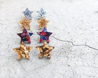 Star glitter earrings - laser cut multicolour/gold/silver/bronze acrylic star shaped glitter arrings - hypoallergenic stud post earrings