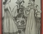 Fabulous Vintage 80s RUSSIAN SETTLERS' DRESS Misses Folkwear Pattern Factory Folded