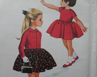 Fabulous Vintage 60s GIRLS DRESS and JACKET Pattern Factory Folded