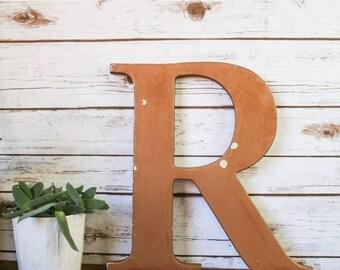 SALE XL Vintage Shop Letter R, Bronze