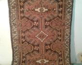 Vintage Turkish rug, hand woven rug, brown door mat rug, Tribal decor, entry rugs