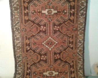Vintage Turkish rug, hand woven rug, brown door mat rug, Tribal decor, entry rugs