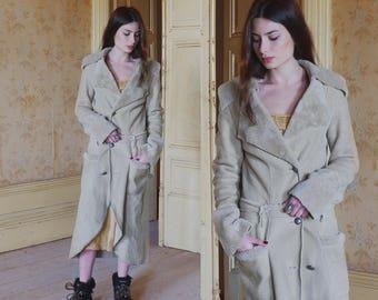 Sale 50% - Rare Versace  Vintage Fur and Leather Couture Bege XS Coat 70s, fur coat, vintage coat, Versace coat