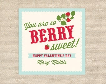 25 Printed Berry Valentine Treat Tags