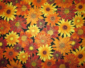Sunflowers Realistic Sun Flowers Metallic Thread Cotton Fabric Fat Quarter or Custom Listing