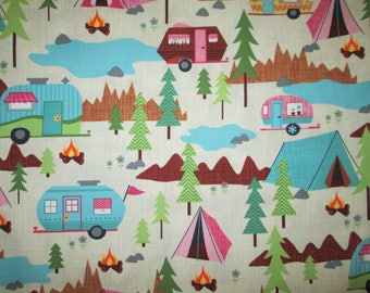 Vintage Trailer RV Camper Tents Camping Nature Cream Cotton Fabric Fat Quarter or Custom Listing