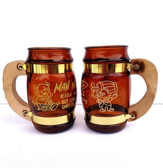 Vintage 1960's Funny Sayings Beer Mug Set - Brown Glass with Wood and Brass