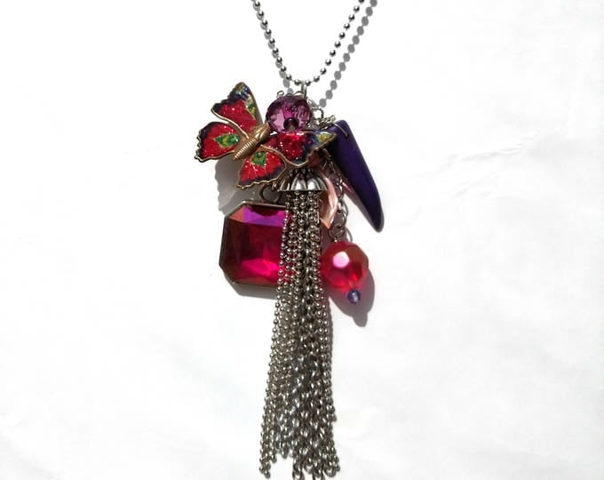 Silver Chain Tassel Necklace with Vintage Enamel Magenta Butterfly, Pink Shell and Purple Rhinestones