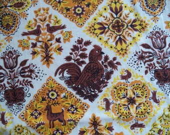 "Country rooster fabric/ vintage brown orange yellow fabric/ rooster flowers folk art print fabric/ cotton fabric/ sold by the yard/ 36"" wide"