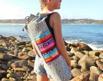 Yoga mat bag - Mexican blanket & Aztec textiles - Pocket, beaded draw string, plenty of wiggle room - stunning bag - handmade in Australia.