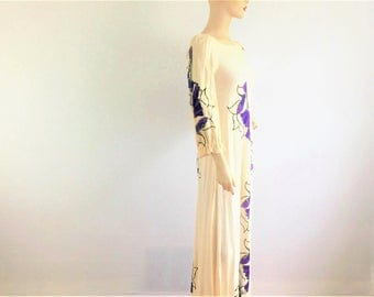 Vintage 60s hand printed cotton gauze maxi dress - 1960s cream floor length dress with purple and black floral design - medium