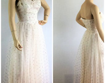 Vintage 50s wedding /prom/party dress - 1950s strapless white pastel polka dot tulle full skirt tea length dress - medium