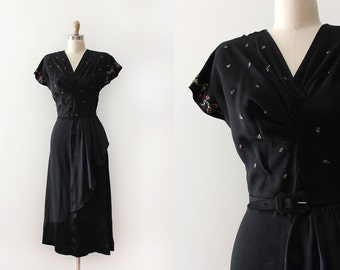vintage 1940s dress // 40s black crepe sequin evening dress
