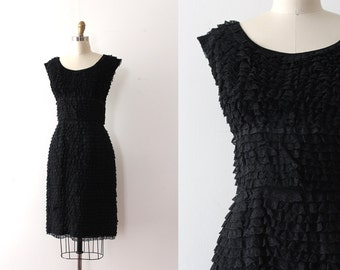 vintage 1950s dress // 50s black lace ruffle wiggle dress