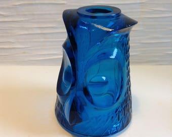 Vintage Viking Glass Blue Owl Fairy Lamp.  MISSING Bottom. Mid century modern, Kitsch, Eames era.  Gorgeous Blue Color.