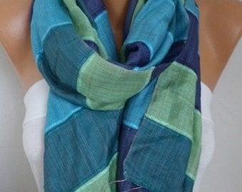 ON SALE --- Blue Tones Silk Cotton Shawl Scarf,Fall Winter Scarf,Bohemian,Bridal,Wedding,Gift Ideas For Women,Christmas,Casual,Formal,women