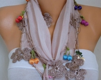 ON SALE --- Summer Fashion  Floral Cotton Scarf, Cowl Scarf Necklace Gift Ideas For Her Women' Fashion Accessorie,Bridesmaid Gift