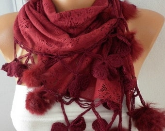 ON SALE --- Burgundy Scarf,Christmas Gift Wine Scarf  Cowl Scarf with Pompom - for her Bridesmaid Gift  Women's Fashion Accessories fatwoman