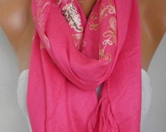 ON SALE --- Hot Pink Embroidered Scarf,Bohemian Shawl,Oversize,Evening Wrap,Bridesmaid,Bridal Accessories, Gift Ideas For Her,Women Fashion