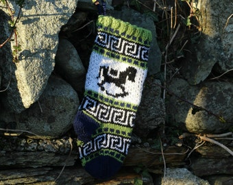 Small Christmas Stocking knitted with rocking horse Holiday stocking handknit sock GBS
