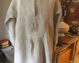 Antique French paysanne rustic shirt / smock