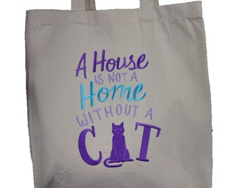 Embroidered Canvas Shopping Bag for Cat Lovers