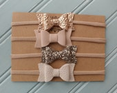 RTS- Set of 4 Mini Chunky Bow Headbands in Champagne, Rose Gold, Ivory and Nude Nylon Headbands